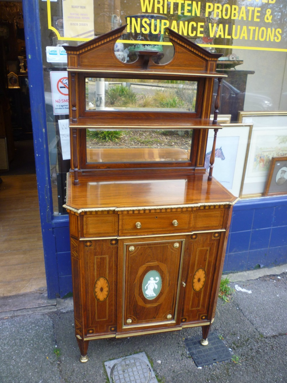 very fine antique marquetry inlaid rosewood side cabinet with wedgewoodormolu mounts