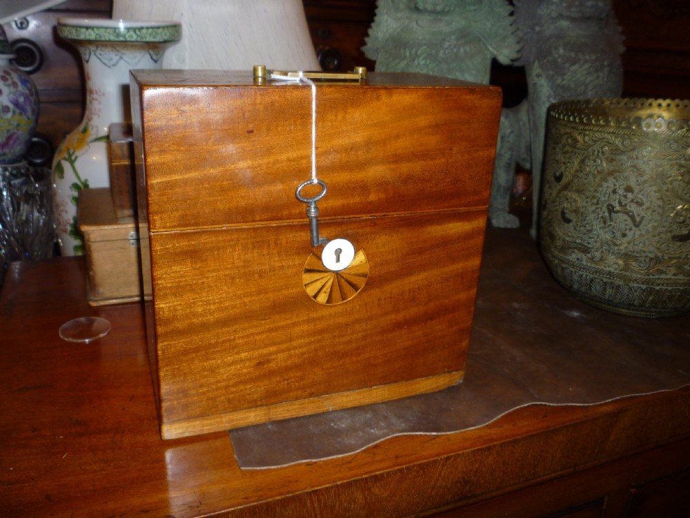 rare antique inlaid mahogany apothecary bottle case with bottles